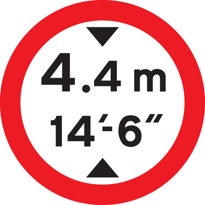 No vehicles over height shown
