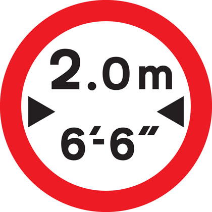 No vehicles over width shown