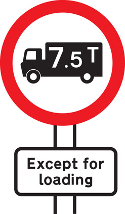 No goods vehicles over maximum gross weight shown (in tonnes) except for loading and unloading