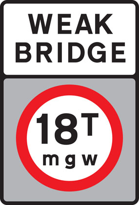 No vehicles over maximum gross weight shown (in tonnes)