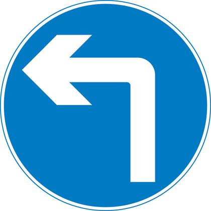 Turn left ahead (right if symbol reversed)