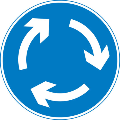 Mini-roundabout (roundabout circulation - give way to vehicles from the immediate right)