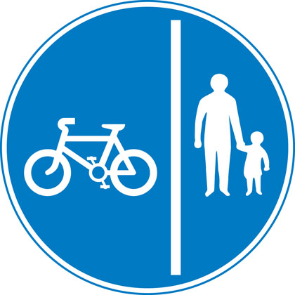Segregated pedal cycle and pedestrian route