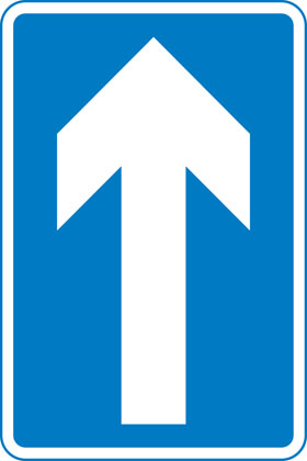 One-way traffic (note: compare circular 'Ahead only' sign)