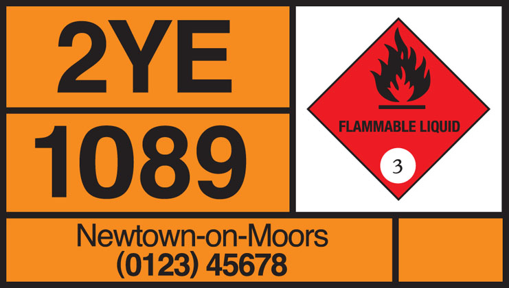 The panel illustrated is for flammable liquid. Diamond symbols indicating other risks include: