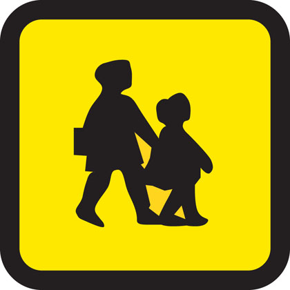 School bus (displayed in front or rear window of bus or coach)