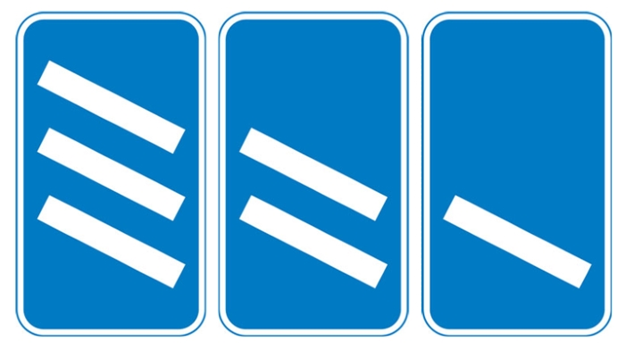 'Countdown' markers at exit from motorway (each bar represents 100 yards to the exit). Green-backed markers may be used on primary routes and white-backed markers with black bars on other routes. At approaches to concealed level crossings white-backed markers with red bars may be used. Although these will be erected at equal distances the bars do not represent 100 yard intervals.