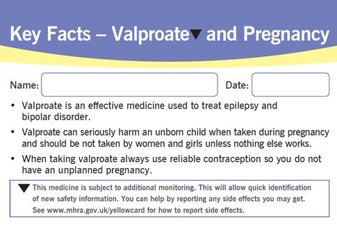 valproate patient card 2016