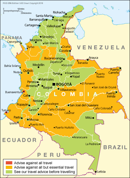 Colombia Travel Advice GOVUK - Colombia map