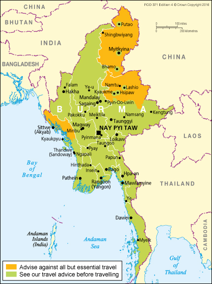 Burma Travel Advice GOVUK - Us safe travel map gov