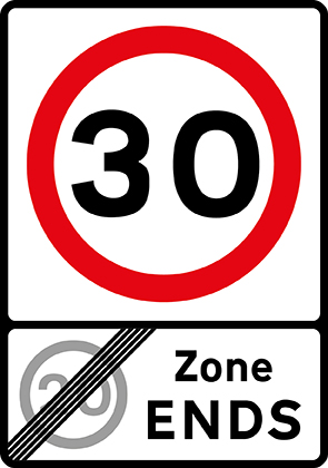 End of 20 mph zone