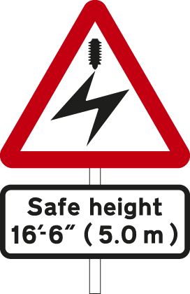 Overhead electric cable; plate indicates maximum height of vehicles which can pass safely