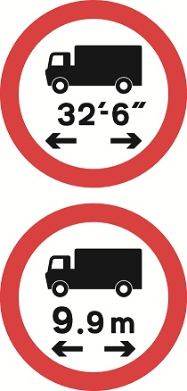 No vehicle or combination of vehicles over length shown