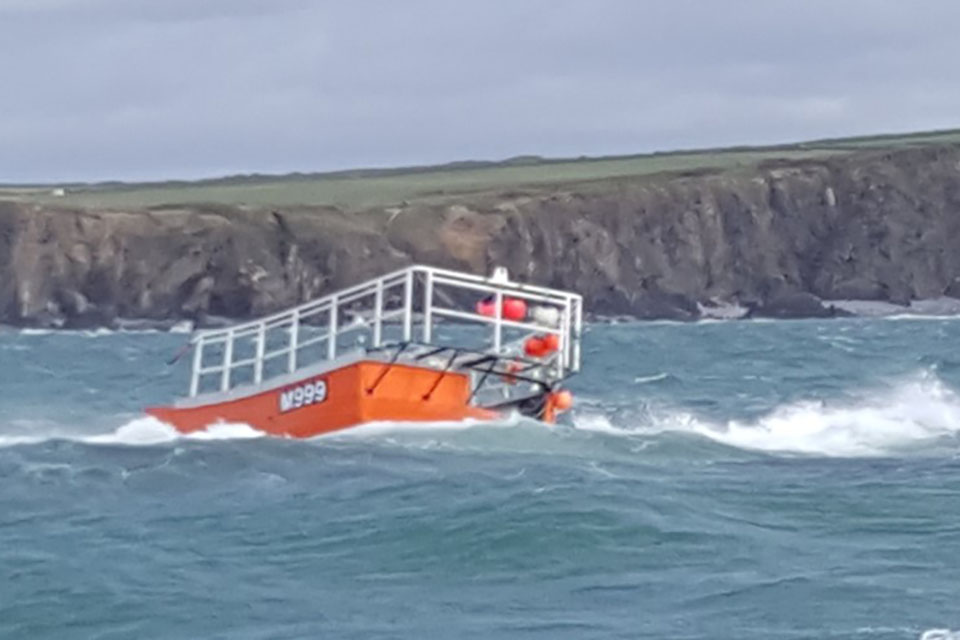 Harvester aground on East Sledge (Photograph courtesy of St David's RNLI)