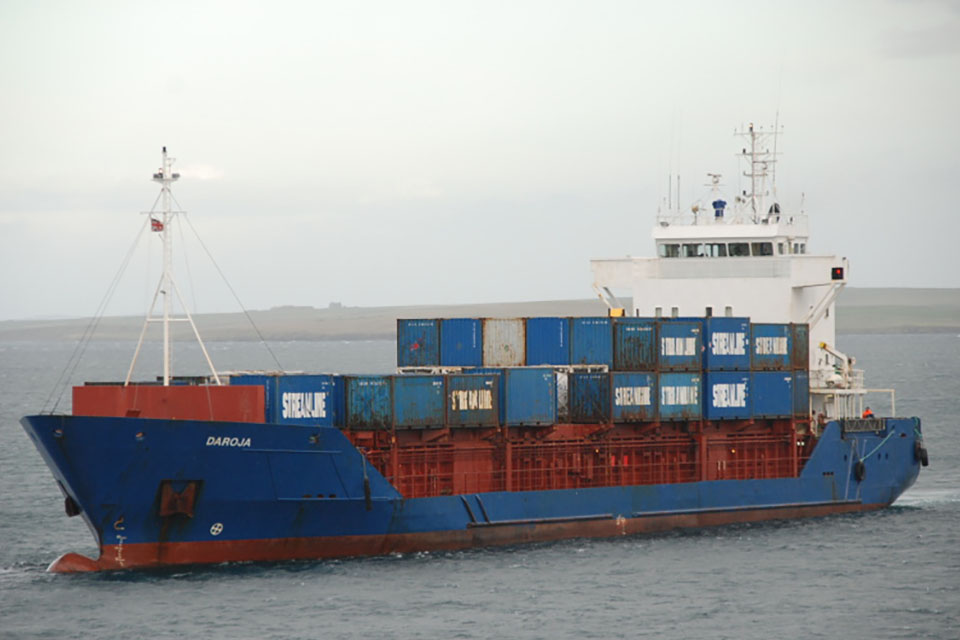 Collision between general cargo vessel Daroja and oil bunker