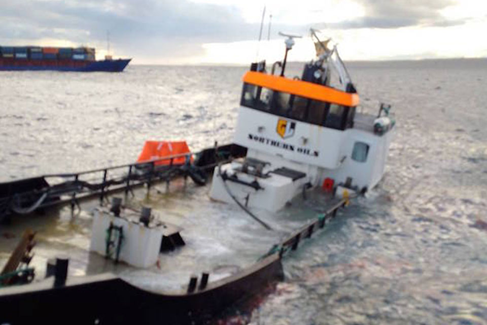 Erin Wood post-collision with Daroja standing by (photo: RNLI)