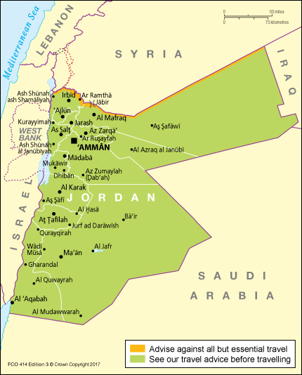 Jordan Travel Advice GOVUK - Jordan map hd pdf