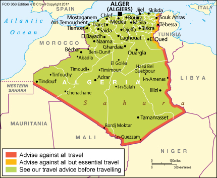 Algeria Travel Advice GOVUK - Algeria map