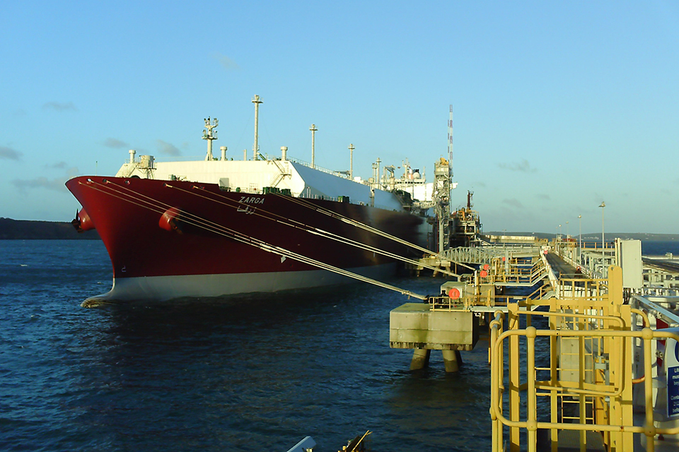 Photograph of LNG carrier Zarga alongside