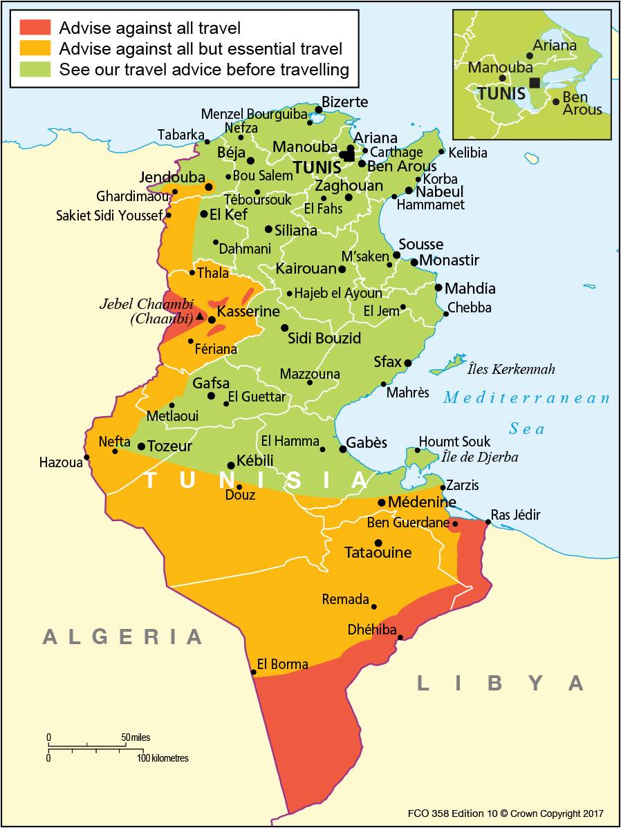 Tunisia Travel Advice GOVUK - Tunisia country political map