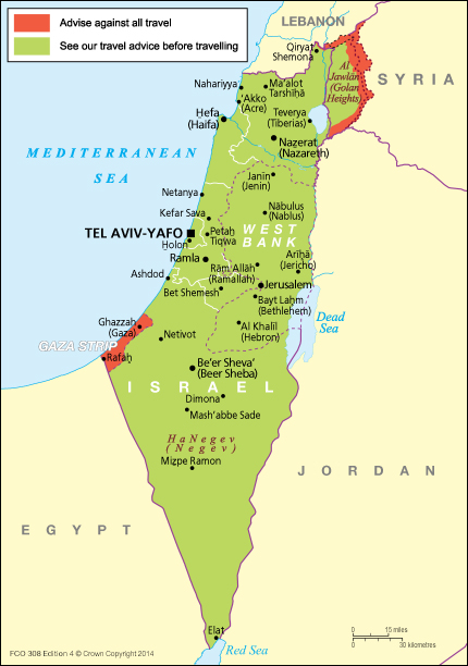 Israel Travel Advice GOVUK - Israel map