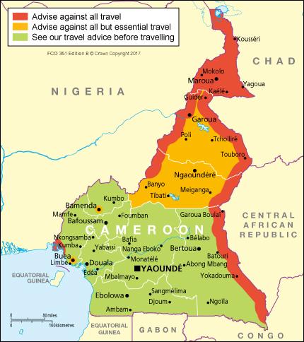 Cameroon Travel Advice GOVUK - Cameroon map
