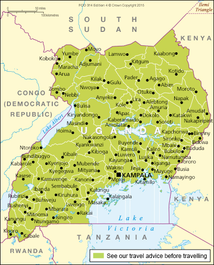 Uganda Travel Advice GOVUK - Map of uganda