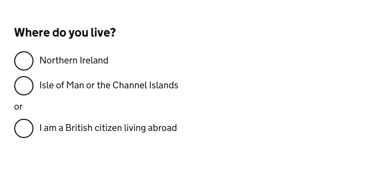 """Example of a question page heading, titled """"Where do you live?"""""""