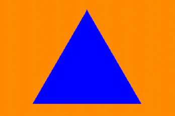 International civil defence sign - blue triangle orange background