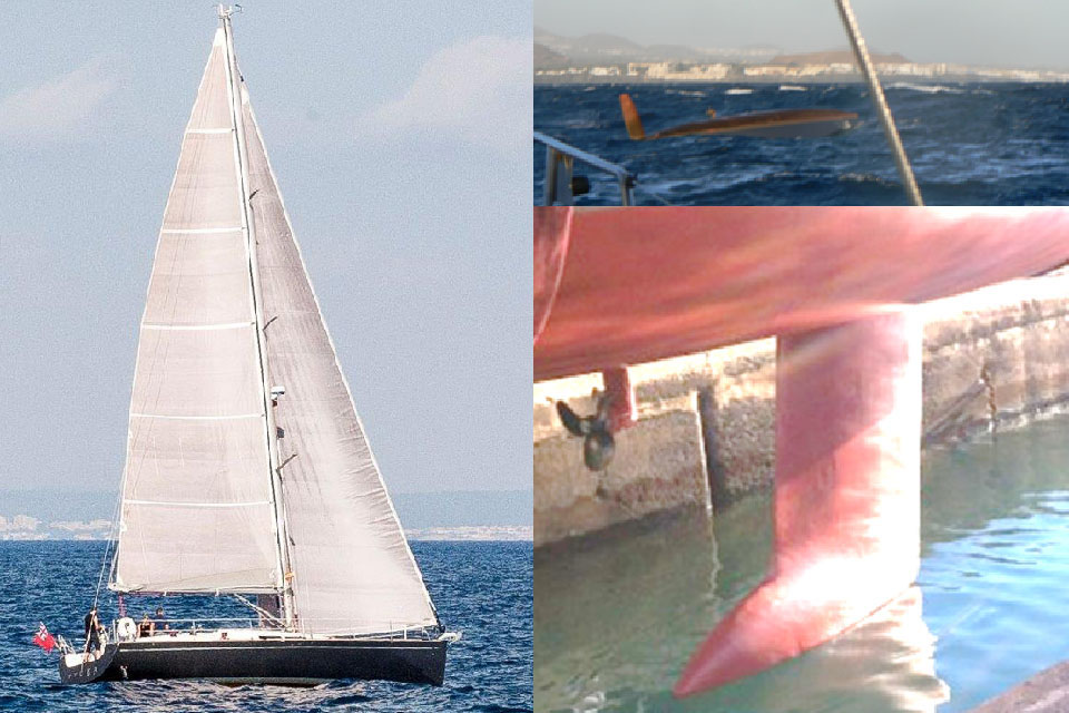 Composite photograph showing yacht, capsize and keel