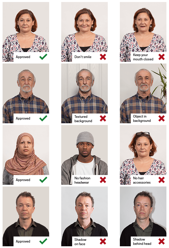 Examples of passport photos - described in text under the heading Rules for digital photos