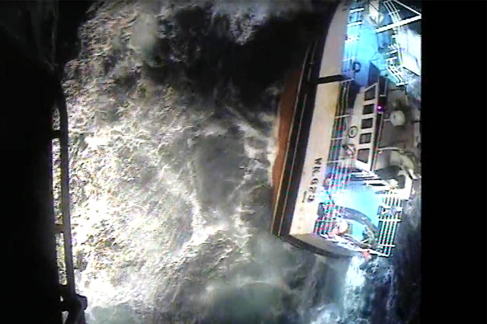 North Star in the seaway (image taken from the rescue helicopter video footage)
