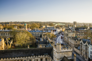 Oxford city centre from a church tower