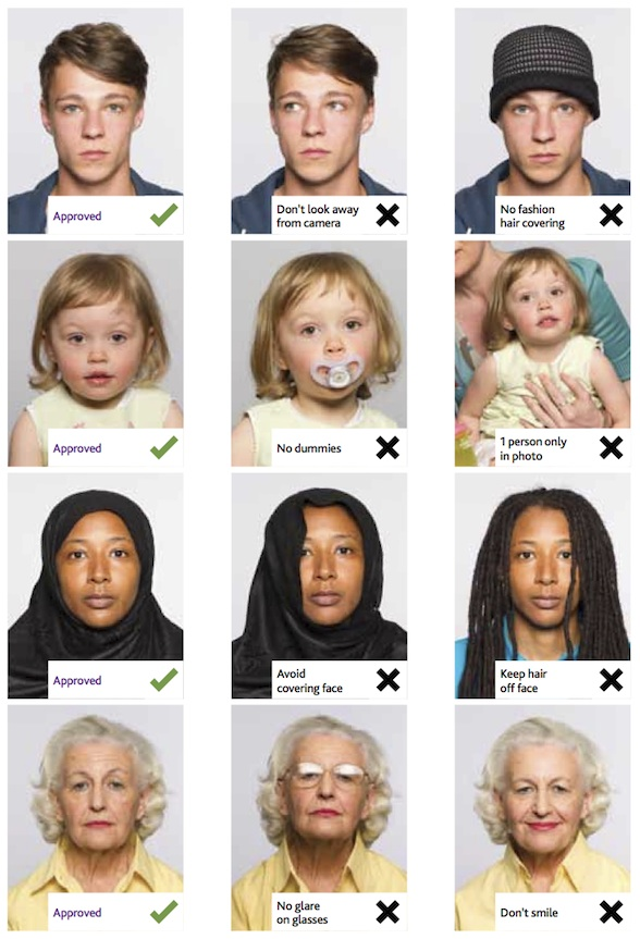Examples of passport photos - described in text above