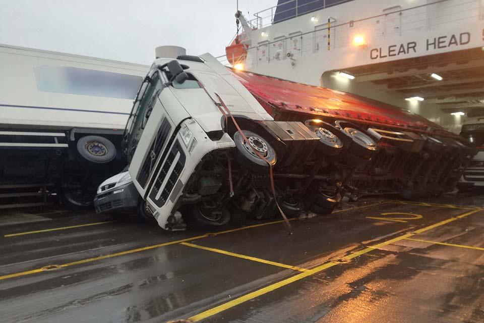 Toppled vehicles on European Causeway