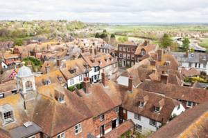 View of the rooftops of the historic Cinque Port town of Rye in East Sussex, from the top of Saint Mary's Church Tower.