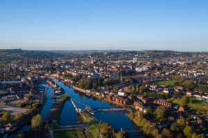 Photograph of Exeter from the air