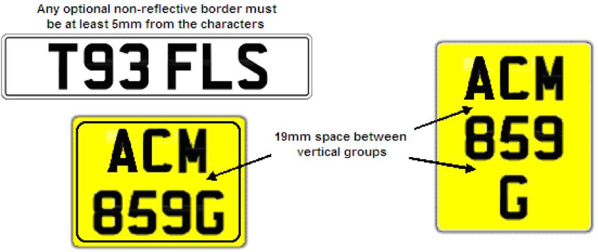 Registration plate formats