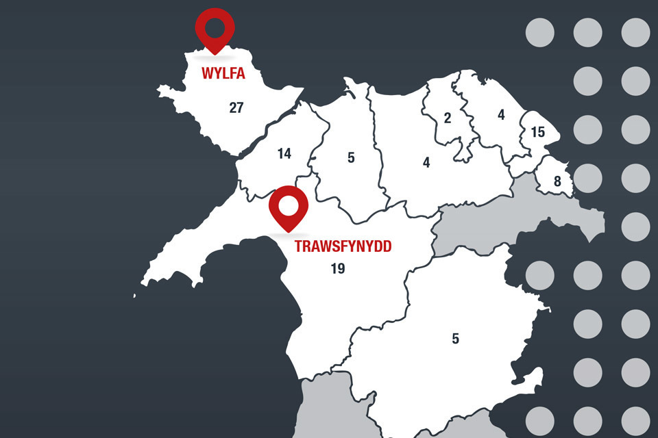 A map of North Wales, highlighting the NDA's 2 nuclear sites: Wylfa and Trawsfynydd