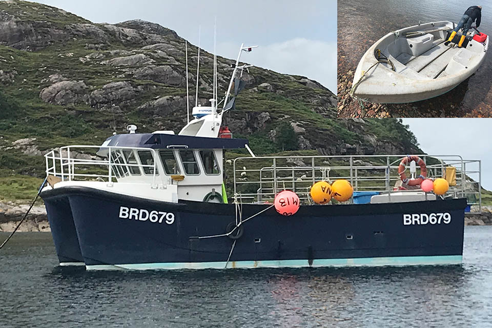 Composite image showing the fishing vessel and the tender