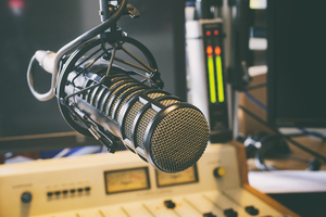 microphone in a radio station