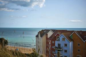 Houses along the coast of Bournemouth, Dorset.