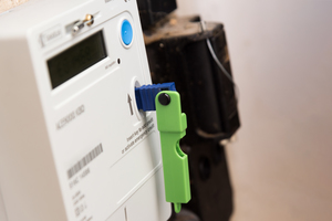 An electric key inserted in a top up meter