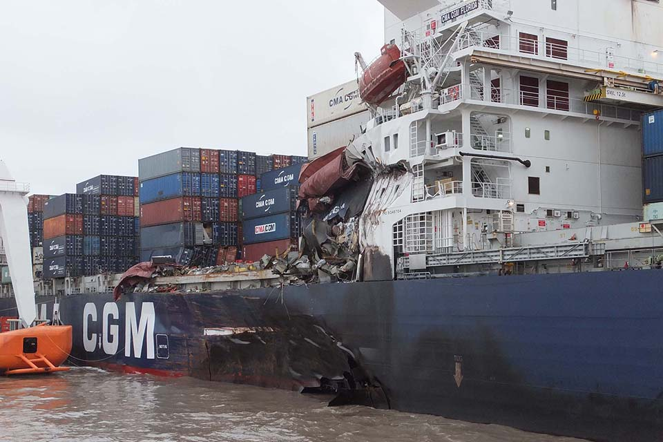 Collision between container vessel CMA CGM Florida and bulk