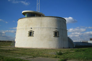 Jaywick Martello Tower, which shone a blue strobe to raise awareness of flood risk