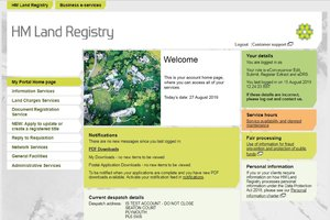 The home page of the HM Land Registry Portal