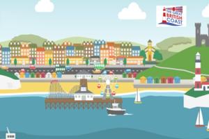 Great British Coast - illustration of a coastal town