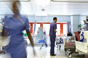 Busy nhs ward blurred