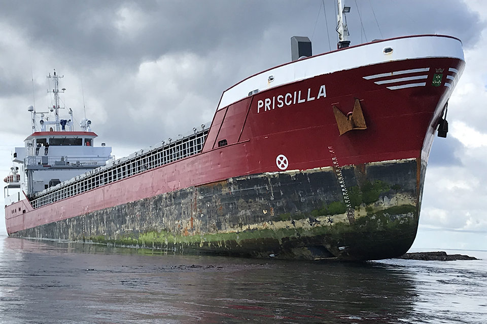 General cargo vessel Priscilla aground - Image courtesy of the RNLI