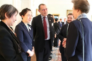 Princess Anne talks to Adrian and Dounreay Site Stakeholder Vice-Chair Struan Mackie